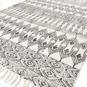 Black Off-White Cotton Block Print Area Accent Dhurrie Rug Bohemian Flat Weave - 3 X 5 to 8 X 10 ft