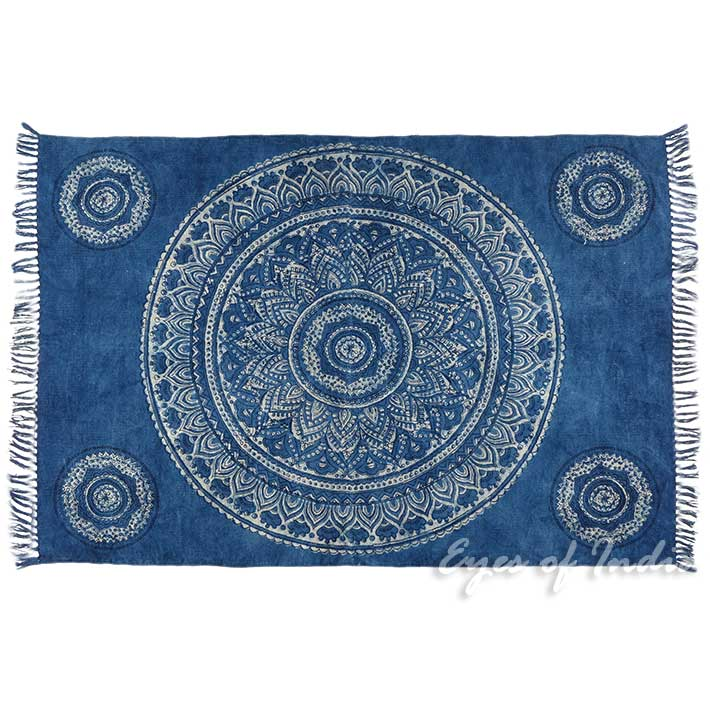 mandala cotton block print area accent dhurrie overdyed rug flat weave hand woven 4 x