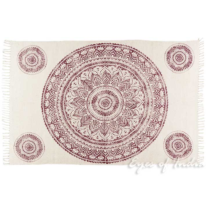Mandala Cotton Block Print Area Accent Dhurrie Overdyed Rug Flat Weave Hand Woven - 4 X 6 ft