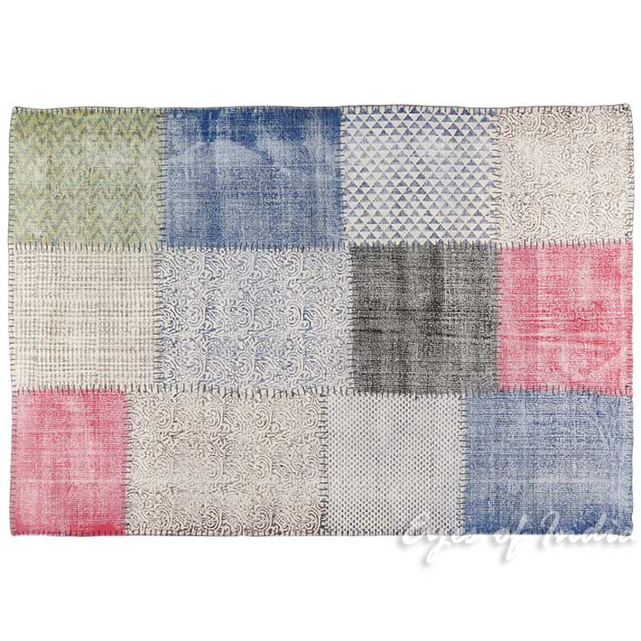 White Colorful Block Print Accent Area Dhurrie Overdyed Rug Flat Weave Hand Woven - 3 X 5 to 4 X 6 ft