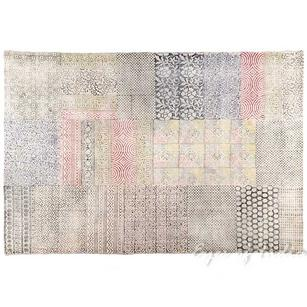 Colorful White Block Print Area Accent Dhurrie Overdyed Rug Hand Woven Flat Weave - 3 X 5 to 4 X 6 ft