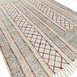 Cotton Block Print Accent Area Dhurrie Overdyed Rug Flat Weave Hand Woven - 3 X 5, 4 X 6 ft