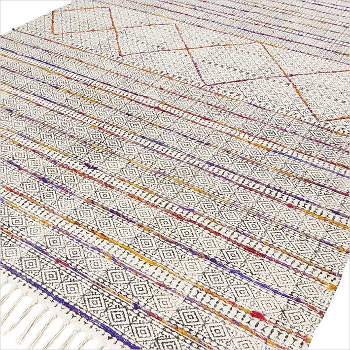 Cotton Block Print Area Accent Dhurrie Overdyed Rug Hand Woven Flat Weave 3 X 5 4 6 Ft