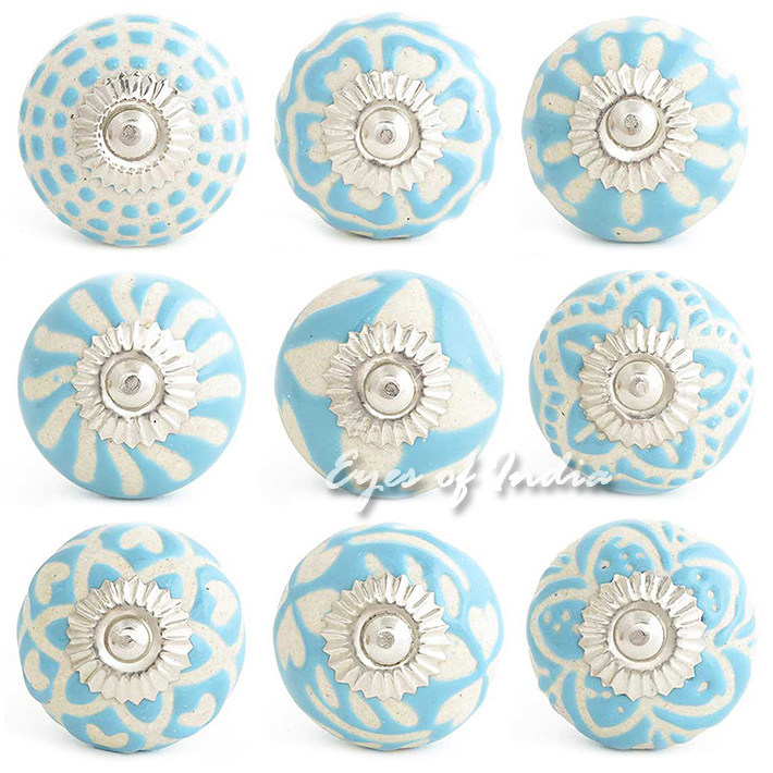 Blue Embossed Ceramic Decorative Shabby Chic Cabinet Dresser Cupboard Knobs Pulls