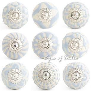 Gray Embossed Ceramic Decorative Shabby Chic Dresser Cabinet Cupboard Knobs Pulls