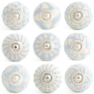 Gray Embossed Ceramic Decorative Shabby Chic Dresser Cabinet Cupboard Knobs Pulls