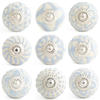 Gray Embossed Ceramic Decorative Shabby Chic Dresser Cabinet Cupboard Knobs Pulls 1