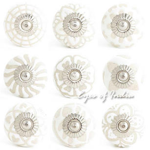 White Embossed Ceramic Decorative Shabby Chic Dresser Cabinet Cupboard Knobs Pulls