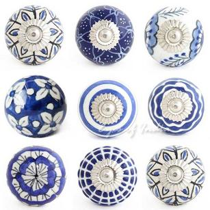 Blue Indigo Ceramic Decorative Shabby Chic Cabinet Dresser Cupboard Knobs Pulls