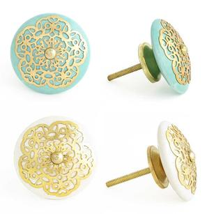 Blue or Cream Round Jali Ceramic Decorative Shabby Chic Door Dresser Cabinet Cupboard Knob Pulls