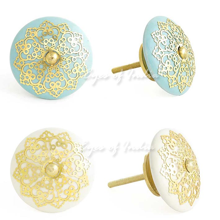 Blue Or Cream Round Jali Ceramic Door Dresser Cabinet Cupboard Knobs Pulls