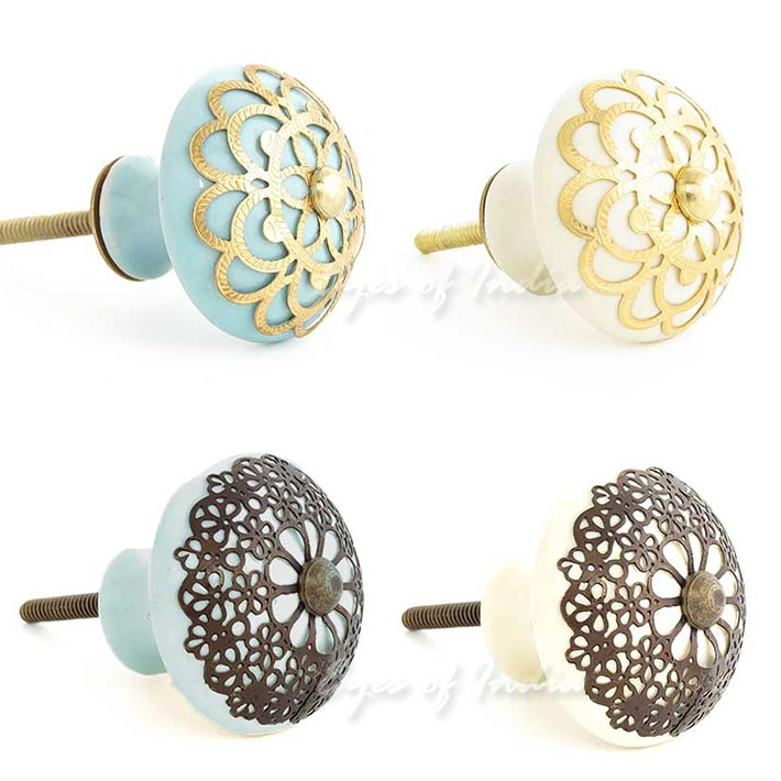 Cream Round Jali Ceramic Door Dresser Cabinet Pulls Cupboard Knobs
