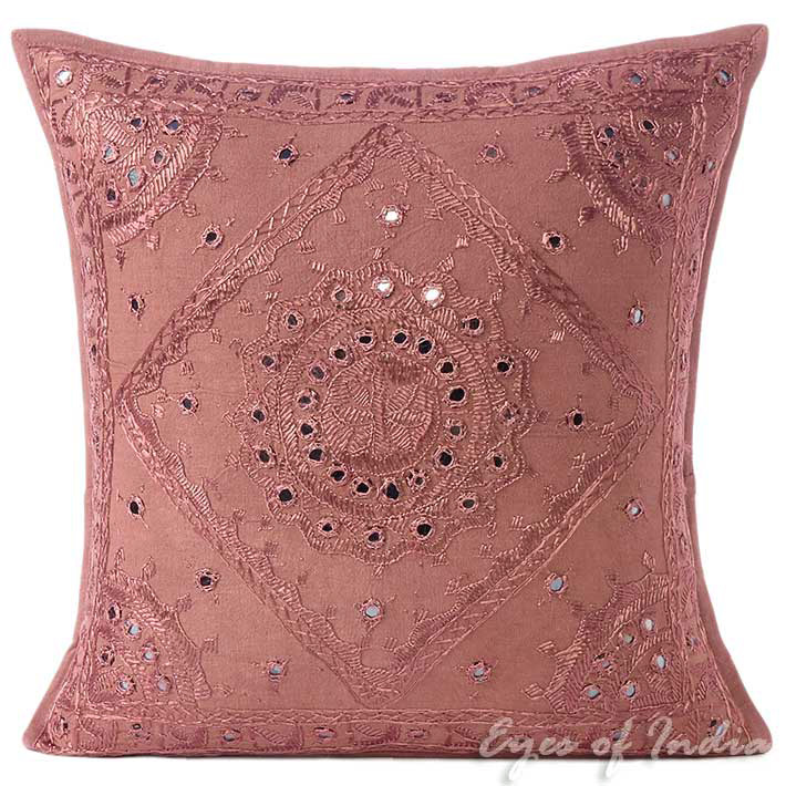 Brown Mirror Embroidered Colorful Decorative Boho Couch Sofa Throw Pillow Cushion Cover - 16, 24""