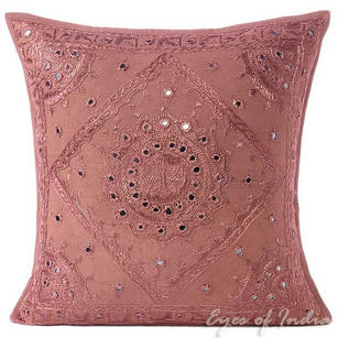 Brown Mirror Embroidered Decorative Boho Bohemian Couch Throw Pillow Cushion Cover - 16, 24""