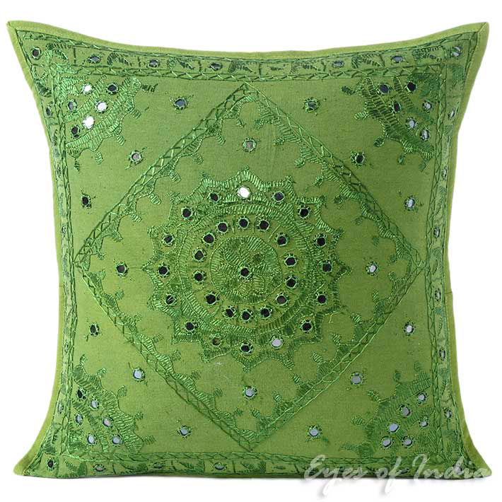 Green Mirror Embroidered Colorful Decorative Boho Sofa Throw Couch Pillow Cushion Cover - 16, 24""