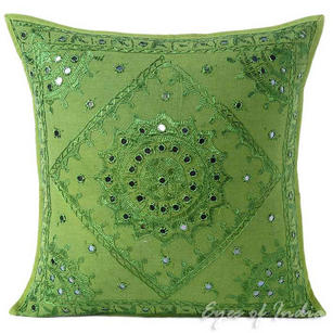 Green Mirror Embroidered Decorative Boho Bohemian Throw Pillow Cushion Cover - 16, 24""