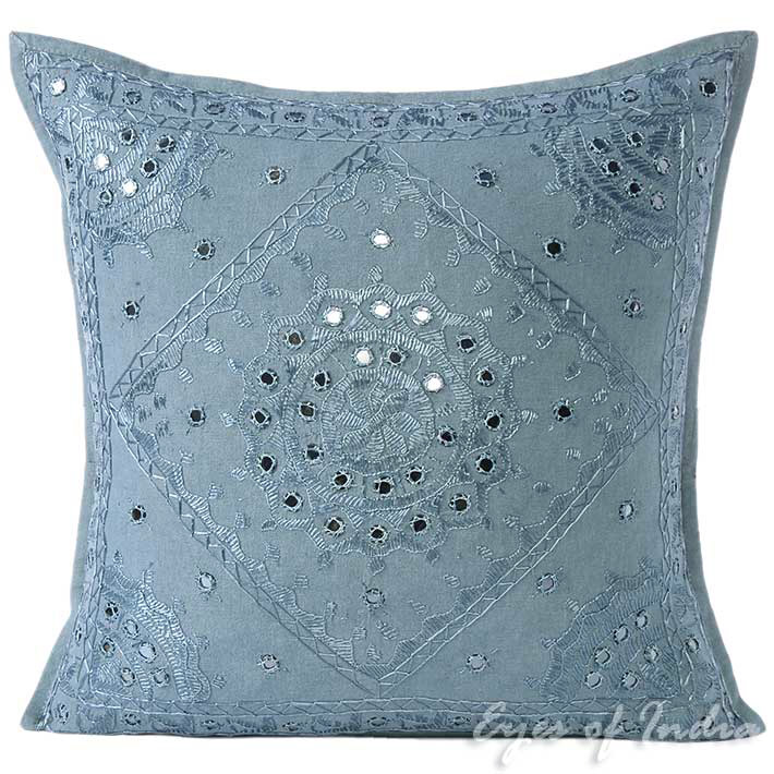 """Grey Mirror Embroidered Decorative Sofa Bohemian Couch Throw Pillow Cushion Cover - 16, 24"""""""