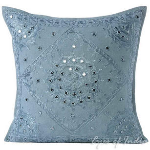 Grey Mirror Embroidered Decorative Sofa Bohemian Couch Throw Pillow Cushion Cover - 16, 24""