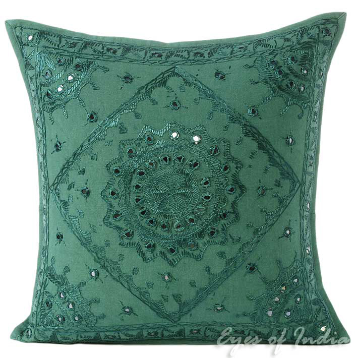 Emerald Teal Mirror Embroidered Decorative Bohemian Throw Pillow Cushion Cover - 16, 24""