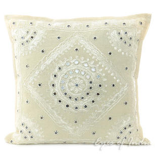 White Mirror Embroidered Colorful Decorative Sofa Bohemian Couch Throw Pillow Cushion Cover - 16, 24""