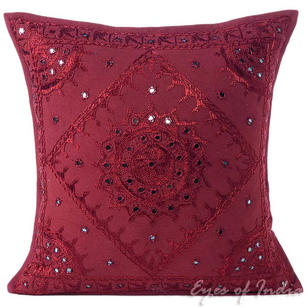 Burgundy Red Mirror Embroidered Decorative Sofa Bohemian Pillow Cushion Throw Cover - 16, 24""