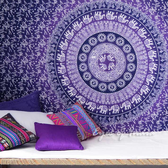 Twin Ombre Bohemian Hippie Mandala Wall Tapestry Beach Bedspread - Small/Twin