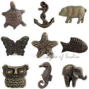 Brass Molded Decorative Shabby Chic Dresser Cabinet Cupboard Knobs Pulls