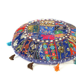Blue Boho Decorative Seating Patchwork Round Colorful Floor Pillow Cover Bohemian Indian Throw - 28""