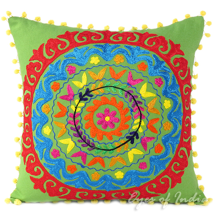 Embroidered Colorful Decorative Boho Couch Throw Pillow Bohemian Sofa Cushion Cover - 16, 18""