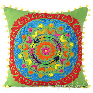 Embroidered Decorative Boho Couch Throw Pillow Bohemian Sofa Cushion Cover - 16, 18""