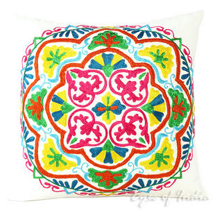 White Embroidered Colorful Throw Boho Bohemian Pillow Couch Sofa Cushion Cover - 16, 18""