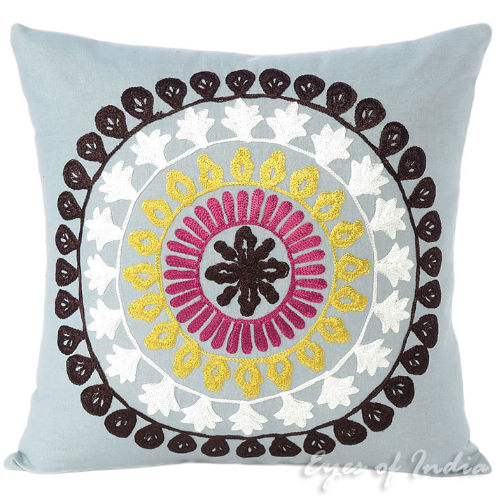 Embroidered Grey Colorful Decorative Boho Sofa Throw Bohemian Pillow Couch Cushion Cover - 16, 18""