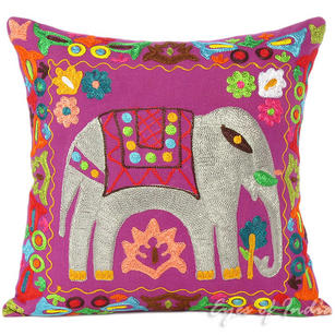 Purple Colorful Decorative Embroidered Sofa Throw Bohemian Pillow Couch Cushion Cover - 16, 18""