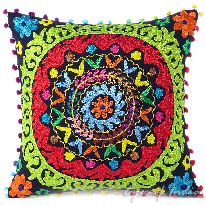 Black Embroidered Colorful Decorative Sofa Throw Bohemian Pillow Couch Cushion Cover - 16, 18""