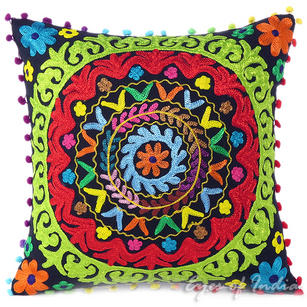 """Black Embroidered Colorful Decorative Sofa Throw Bohemian Pillow Couch Cushion Cover - 16, 18"""""""