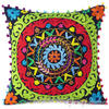 "Black Embroidered Colorful Decorative Sofa Throw Bohemian Pillow Couch Cushion Cover - 16, 18"" 1"