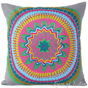 Gray Grey Colorful Decorative Embroidered Sofa Throw Boho Pillow Couch Cushion Cover - 16, 18""