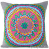 "Gray Grey Colorful Decorative Embroidered Sofa Throw Boho Pillow Couch Cushion Cover - 16, 18"" 1"