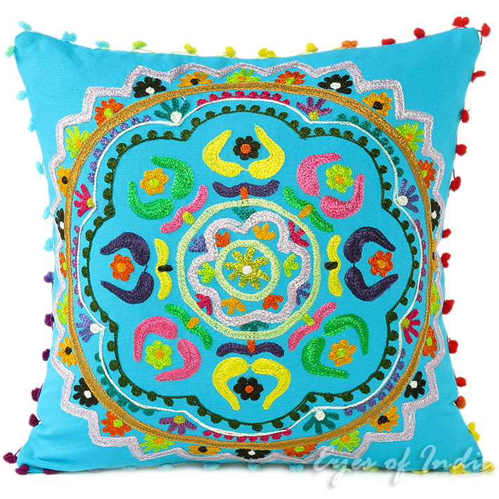 Blue Embroidered Bohemian Colorful Decorative Boho Sofa Cushion Throw Couch Pillow Cover - 16, 18""