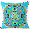 "Blue Embroidered Bohemian Colorful Decorative Boho Sofa Cushion Throw Couch Pillow Cover - 16, 18"" 1"