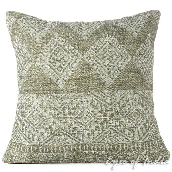 Green Colorful Overdyed Block Print Boho Dhurrie Cushion Floor Couch Pillow Sofa Throw Cover - 24""