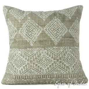 Green Decorative Overdyed Block Print Boho Dhurrie Cushion Floor Pillow Throw Cover - 24""