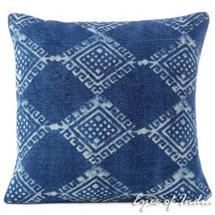 Indigo Blue Colorful Decorative Block Print Bohemian Dhurrie Sofa Throw Cushion Floor Couch Pillow Cover - 20""