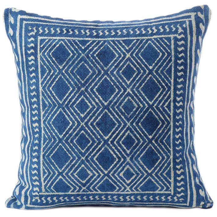 Indigo Blue Boho Colorful Decorative Block Print Couch Cushion Floor Pillow Sofa Throw Cover 20 24