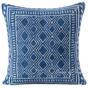Indigo Blue Boho Decorative Block Print Couch Cushion Floor Pillow Throw Cover - 20, 24""