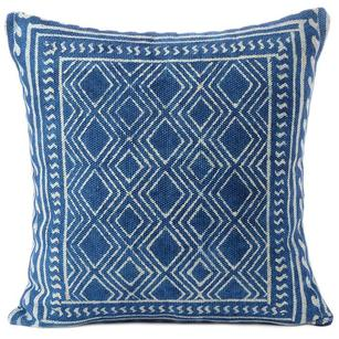 Indigo Blue Boho Colorful Decorative Block Print Couch Cushion Floor Pillow Sofa Throw Cover - 20, 24""