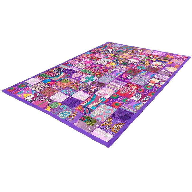 "Purple Decorative Patchwork Tapestry Boho Bohemian Wall Hanging - 20 X 40"""