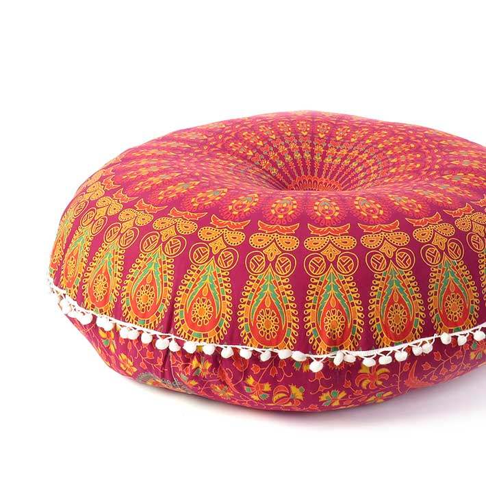 "Burgundy Red Mandala Floor Pillow Cover Meditation Cushion Seating -32"""