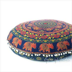 "32""   Mandala Floor Pillow Meditation Cushion Seating Throw Cover Hippie Round Colorful Decorative Bohemian Accent Boho Chic dog bed Indian Handmade"