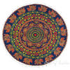 "Blue Boho Mandala Decorative Seating Round Floor Meditation Cushion Throw Pillow Throw Cover - 32"" 4"